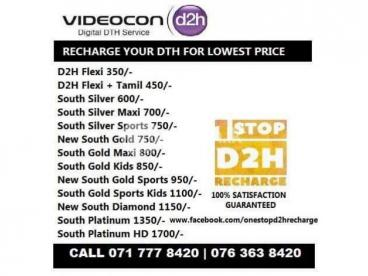 Videocon DishTV SunDirect DTH Recharge & Connections