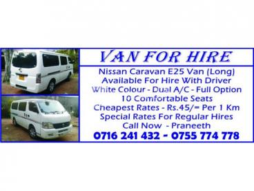 VAN FOR HIRE Nissan Caravan E25 Van (Long)