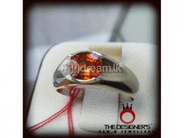 Hesonite Garnet Gomeda Gents Silver Ring