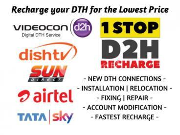 Videocon Dish TV Sun Direct Airtel Tatasky Jio Recharge