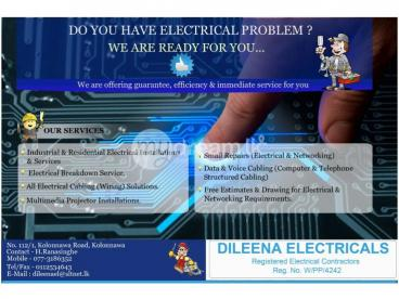 ELECTRICAL, DATA  &  CCTV Installations