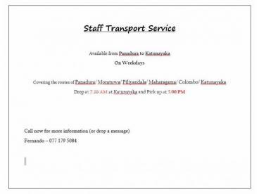 Staff Transport Available Panadura to Katunayaka