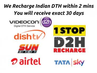Recharge Dish TV Videocon d2h Sun Direct Airtel Tatasky
