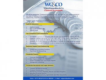 For All Your Taxation / Accounting & Auditing Related Work""