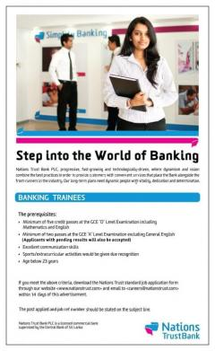 Banking Insurance Banking Trainees Nations Trust
